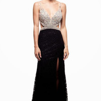 Kari Chang KC36 Black Lace Jeweled Cut Out 2015 Prom Dress
