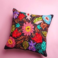 Embroidered Flower Pillow – Multi
