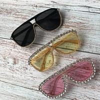 3 Colors Square Luxury Rhinestones Sunglasses