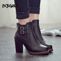 Fashion Classic Sexy Women Shoes Thick High Heel Double Buckle Knight Ankle Boots Elastic Zip Bootie Autumn Winter Ladies Shoes
