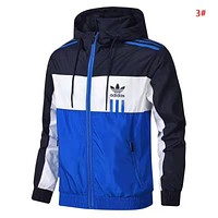 Adidas Fashion New Contrast Color Women Men Sports Leisure Hooded Long Sleeve Windbreaker 3#