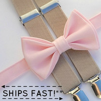 Light Pink Bow Tie & Tan Suspenders -- Ring Bearer Outfit -- Boys Wedding Outfit