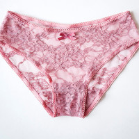 DUSTY ROSE. Sheer Lace Pink Panties. Delicate Ultra Feminine Lace. Homemade Lingerie