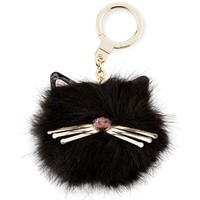 kate spade new york cat pouf key fob, black/multi