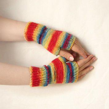 Handknit fingerless gloves, thin armwarmers,  rainbow striped fingerless mittens,  fingerless wool gloves