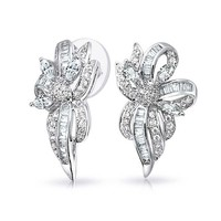 Bling Jewelry Floral Bow Earrings
