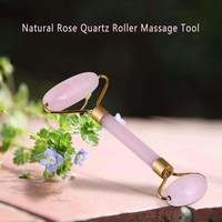 Natural Rose Quartz Roller Massage Tool