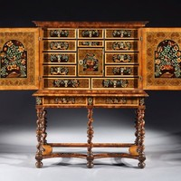 Charles II Oyster Veneered Olivewood and Marquetry Cabinet on Stand