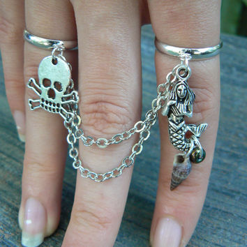mermaid and pirate chained double ring aGasparilla  mermaid and skull double slave ring  fantasy hipster boho gypsy hippie and pirate  style