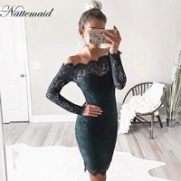 Women Elegant Wedding Party dresses Sexy off shoulder Sleeveless Sheath Bodycon Lace Dress