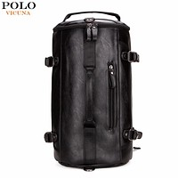 Personality Large Size Round Leather Mens Travel Bag Fashion Rolling Travel Backpack For Man