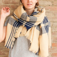 Check Blanket Scarf - Navy