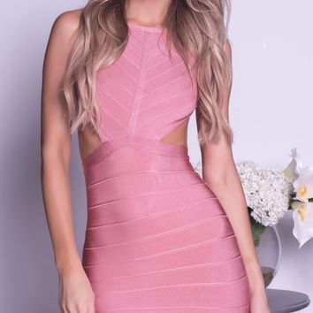 MONIKA BANDAGE DRESS IN DARK BLUSH