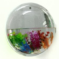 Microtimes Wall Hanging Mount Bubble Aquarium Bowl Acrylic Fish Tank (size, #L)