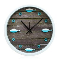 ZLYC Vintage North Europe Style Sea Fish Wood Grain Nautical 12 Inch Round Analog Quartz Wall Clock Home Decor