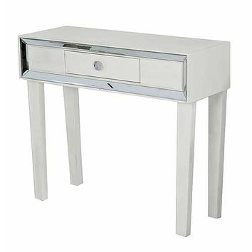 "35'.5"" X 13"" X 31"" Antique White MDF, Wood, Mirrored Glass Console Table with a Drawer and Framed with Mirror Accents"