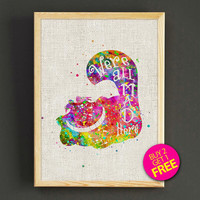 Alice's Cheshire Cat Watercolor Art Print Disney Alice Poster House Wear Wall Art Decor Gift Linen Print - Buy 2 Get FREE - 252s2g