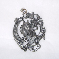 Vintage Pewter Pendant Knight on a Horse