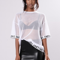 Love Fishnet Tee - White