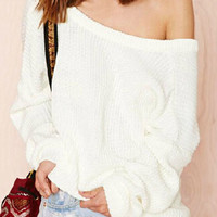 White Skew Collar Open Back Long Sleeve Sweater