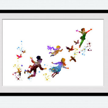Peter Pan art print Peter Pan and Lost Boys watercolor poster Disney art decor Home decoration Kids room decor Nursery room wall art W604