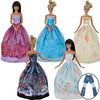 E-TING® Lot 5 Fashion Gorgeous Princess Clothes Dresses Grows Outfit for Barbie Doll