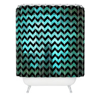 Madart Inc. Black Chevron Romantic Evening Shower Curtain