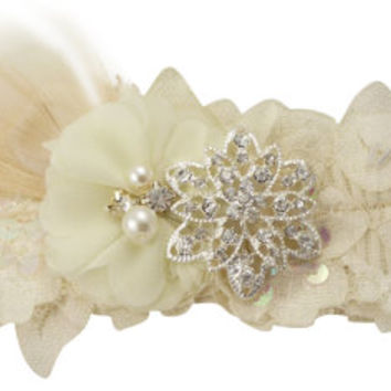 Sweetheart Flower, Peacock Feather & Vintage Flower Rhinestone Embellishment Bridal Garter for the Wedding- Ivory or White Lace Sequin