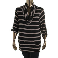 INC Womens Plus Knit Striped Pullover Sweater