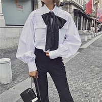 Women Simple Fashion Bow Bandage Long Sleeve Cardigan Lapel Shirt Tops