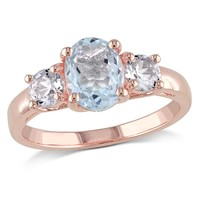 1 5/8 CT TGW Aquamarine Created White Sapphire Fashion Ring  Pink Silver