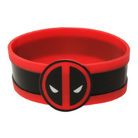 Marvel Deadpool Face Striped Rubber Bracelet