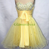 yellow chiffon and tulle short prom dresses with sequins beaded sweetheart gowns for homecoming cheap unique party dress on sale
