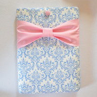 """Macbook Pro 13 Sleeve MAC Macbook 13"""" inch Laptop Computer Case Cover Light Blue and White Damask with Pink Bow"""