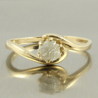 14K Yellow Gold Solitaire Ring - White Rough Diamond - Uncut Unfinished Diamond - Engagement Ring - Swirl Design - April Birthstone