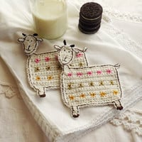 Crochet goat coasters, one pair