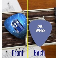 Set of 3 Dr. Who Tardis premium Promo Guitar Pick Pic
