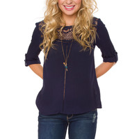 Adeline Lace Top - Navy