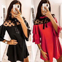 2020 new arrival women's polka dot lace stitching lotus leaf sleeve dress