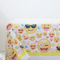 1pcs\lot Creative Emoji Tablecloth Kids Favors Tablecover Baby Shower Maps Happy Birthday Party Decoration Events Supplies