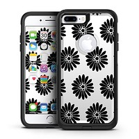 Slate Black Daisy's with Translucent Backing - iPhone 7 or 7 Plus Commuter Case Skin Kit