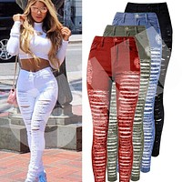 Sexy Women Destroyed Ripped Denim Jeans Skinny Hole Pants High Waist Stretch Slim