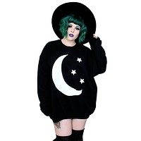 Crescent Moon & Stars Oversized Black Sweatshirt Top