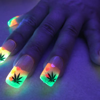 BiolumiNails - Pink/Green Cannabis Tips -unique, glow in the dark, full cover, fake nails, designs, gift for her