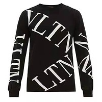 Valentino Fashion Men Women Casual Letter Jacquard Long Sleeve Knit Sweater Top
