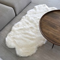 Machine Washable Faux Sheepskin White Double Area Rug