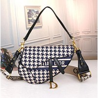 Dior New Classic Saddle Bag Ladies Fashion Jacquard Pattern Shoulder Messenger Bag
