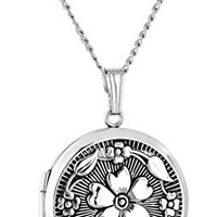 Sterling Silver Embossed Antique-Finish Locket Necklace, 20""