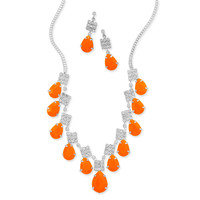 Orange Pear Drop Fashion Necklace and Earring Set
