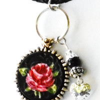 Rose Necklace Hand Painted Black Leather Pendant Romantic Boho Chic Dangling Jewelry FREE SHIPPING